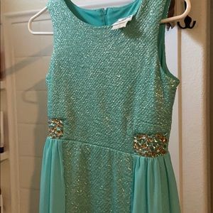 Real low rise teal dress